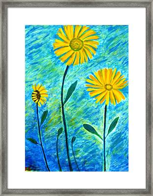 Framed Print featuring the painting Yellow Flowers by John Scates
