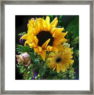 Yellow Foral Bouquet Framed Print by Linda Phelps
