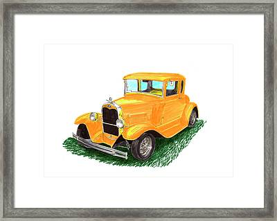 Yellow Ford Hot Rod Coupe Framed Print by Jack Pumphrey