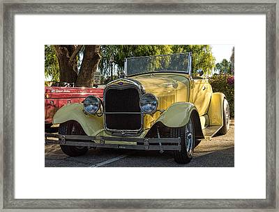 Framed Print featuring the photograph Yellow Ford Roadster by Steve Benefiel