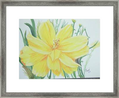 Framed Print featuring the painting Yellow Garden Flower by Hilda and Jose Garrancho