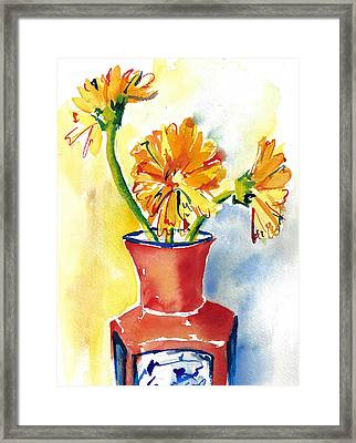 Yellow Gerbera Daisies In A Red And Blue Delft Vase Framed Print