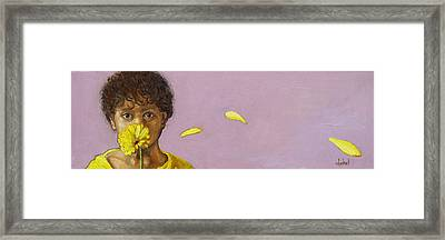 Yellow Gerbera On Purple Framed Print by Ixchel Amor
