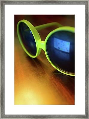 Yellow Goggles With Reflection Framed Print by Carlos Caetano