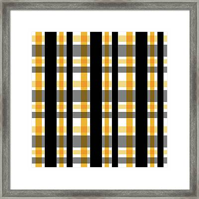 Framed Print featuring the photograph Yellow Gold And Black Plaid Striped Pattern Vrsn 1 by Shelley Neff