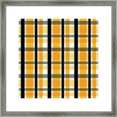 Framed Print featuring the photograph Yellow Gold And Black Plaid Striped Pattern Vrsn 2 by Shelley Neff