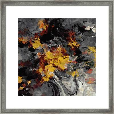 Framed Print featuring the painting Yellow / Golden Abstract / Surrealist Landscape Painting by Ayse Deniz
