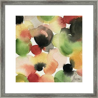 Yellow Green Orange Black Abstract Watercolor Framed Print
