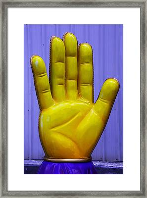 Yellow Hand Framed Print by Garry Gay