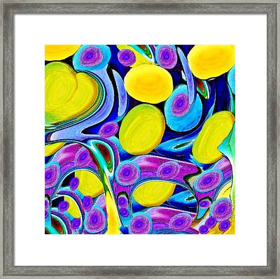 Yellow Heart With Eggs And Faces Framed Print by Jacqueline Migell
