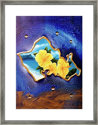 Yellow Hibiscus Hawaii State Flower #142 Framed Print by Donald k Hall
