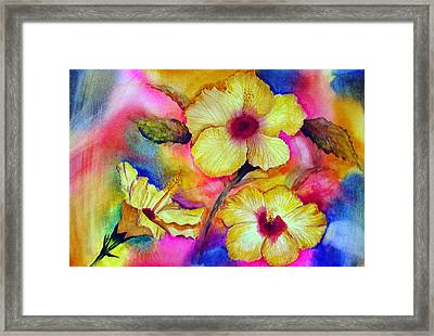 Yellow Hibiscus Framed Print by Tina Storey