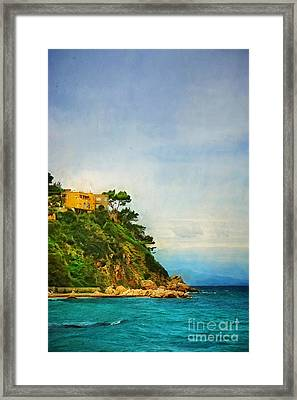 Yellow House In Capri Framed Print by HD Connelly