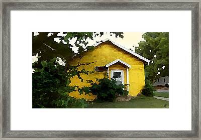 Framed Print featuring the digital art Yellow House In Shantytown  by Shelli Fitzpatrick
