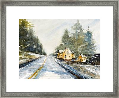 Yellow House On The Right Framed Print by Judith Levins
