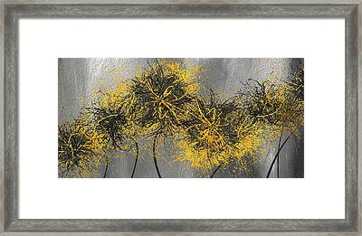 Yellow Hymns - Yellow And Gray Modern Abstract Art Framed Print by Lourry Legarde