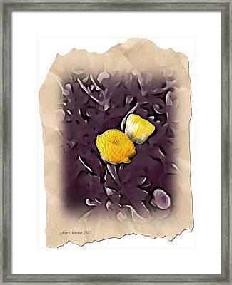 Framed Print featuring the photograph Yellow In Purple by Joan  Minchak