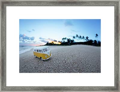 Yellow Kombi Sunrise Framed Print