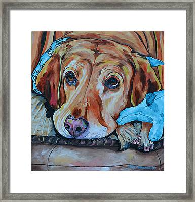 Framed Print featuring the painting Yellow Lab by Patti Schermerhorn