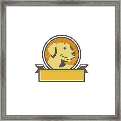 Yellow Labrador Golden Retriever Head Circle Retro Framed Print by Aloysius Patrimonio