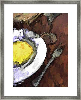 Yellow Lemon In A White Bowl With A Fork And A Wine Glass Framed Print