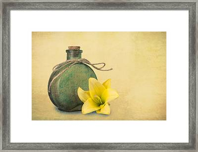 Yellow Lily And Green Bottle II Framed Print