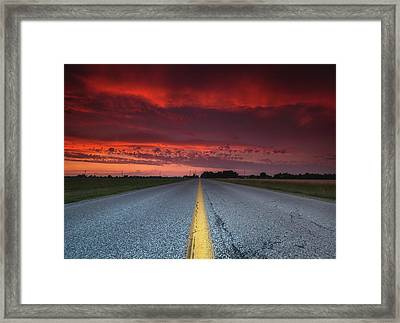 Yellow Line Sunset Framed Print by Cale Best