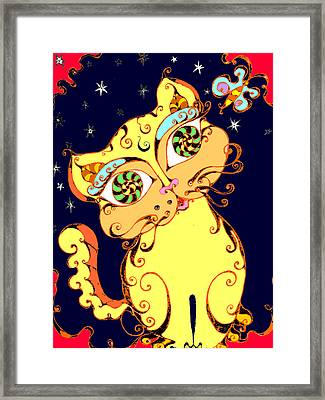 Yellow Loopy Cat Framed Print