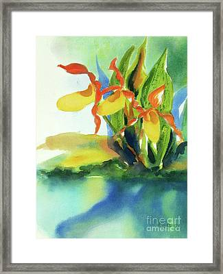 Framed Print featuring the painting Yellow Moccasin Flowers by Kathy Braud