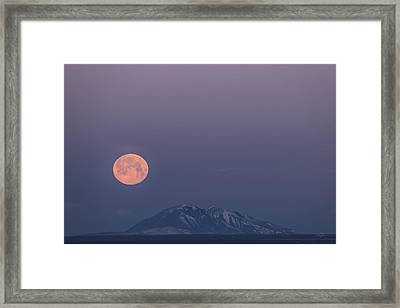 Yellow Moon Set Framed Print by Leland D Howard