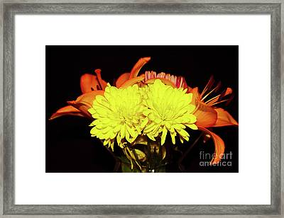 Yellow Mums And Orange Lilies  Framed Print