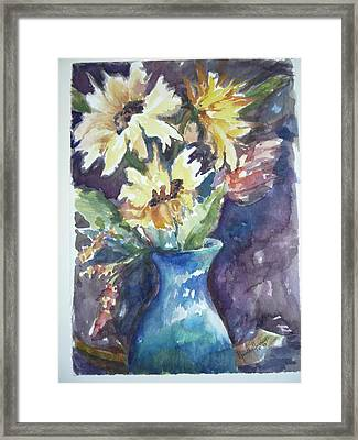 Yellow Mums Framed Print by Dorothy Herron
