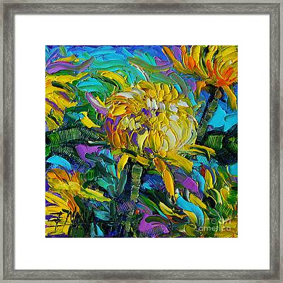 Yellow Mums Framed Print by Mona Edulesco