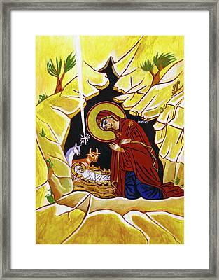 Yellow Nativity Framed Print by Munir Alawi