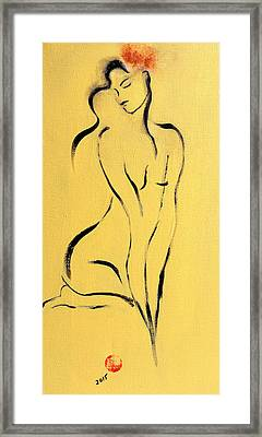 Yellow Nude With Pink Flower Framed Print
