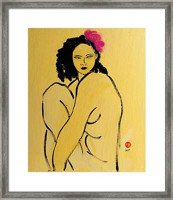 Yellow Nude With Pink Hibiscus Seated Framed Print by Susan Adams