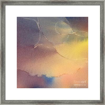 Yellow Orange Blue Watercolor Square Design 3 Framed Print