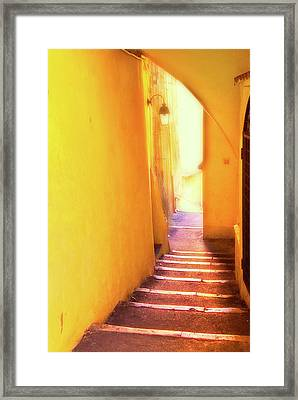Framed Print featuring the photograph Yellow Passage  by Harry Spitz