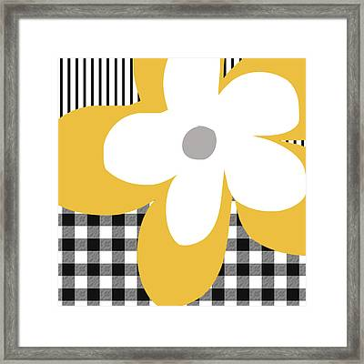 Yellow Picnic Flower- Art By Linda Woods Framed Print