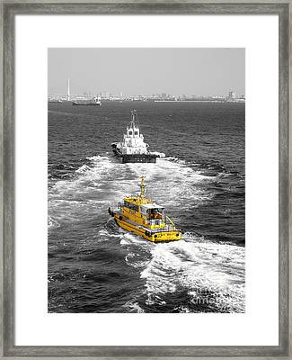Yellow Pilot Yokohama Port Framed Print by Susan Lafleur