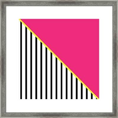 Yellow Pink And Black Geometric 2 Framed Print by Linda Woods