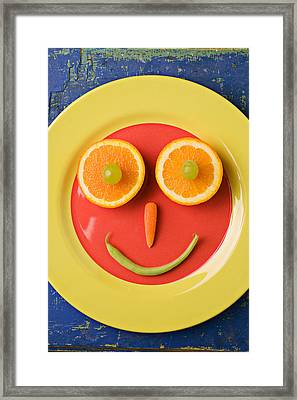 Yellow Plate With Food Face Framed Print by Garry Gay