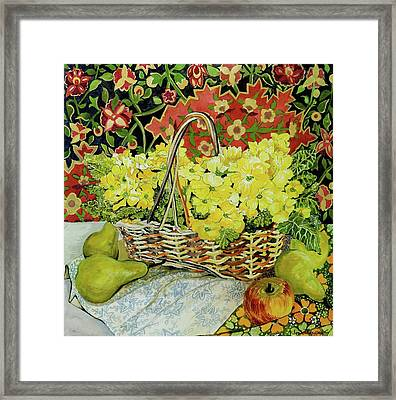 Yellow Primroses In A Basket,with Fruit And Textiles Framed Print by Joan Thewsey