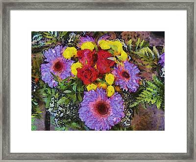 Yellow Purple Framed Print by Dennis Wickerink