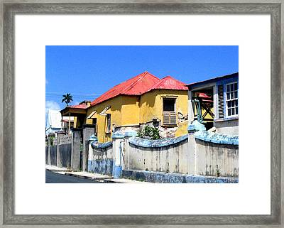 Yellow Red House Framed Print by Barbara Marcus