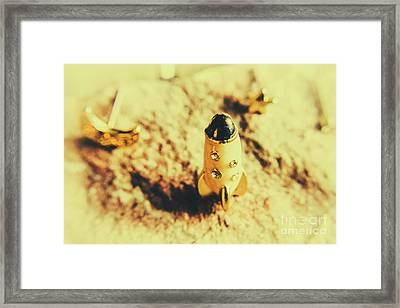 Yellow Rocket On Planetoid Exploration Framed Print