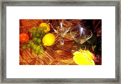 Yellow Rose, 2 Glasses, Grapes, Lemons Framed Print