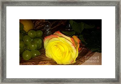 Yellow Rose And Grapes Framed Print