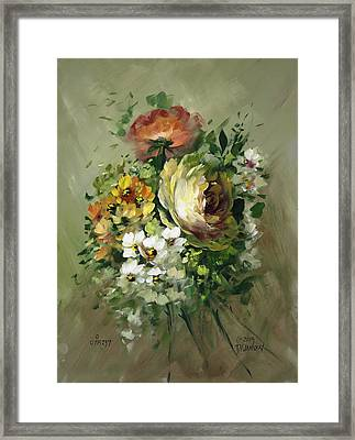 Yellow Rose And White Blossoms Framed Print by David Jansen