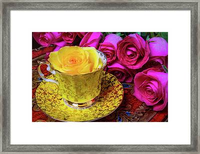 Yellow Rose In Tea Cup Framed Print